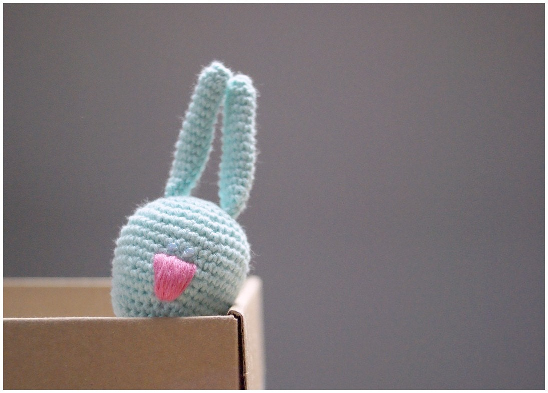 Crochet Rattle - Gentle Bunny with a nice pink nose - Baby Teething toy - Baby gift - YarnBallStories
