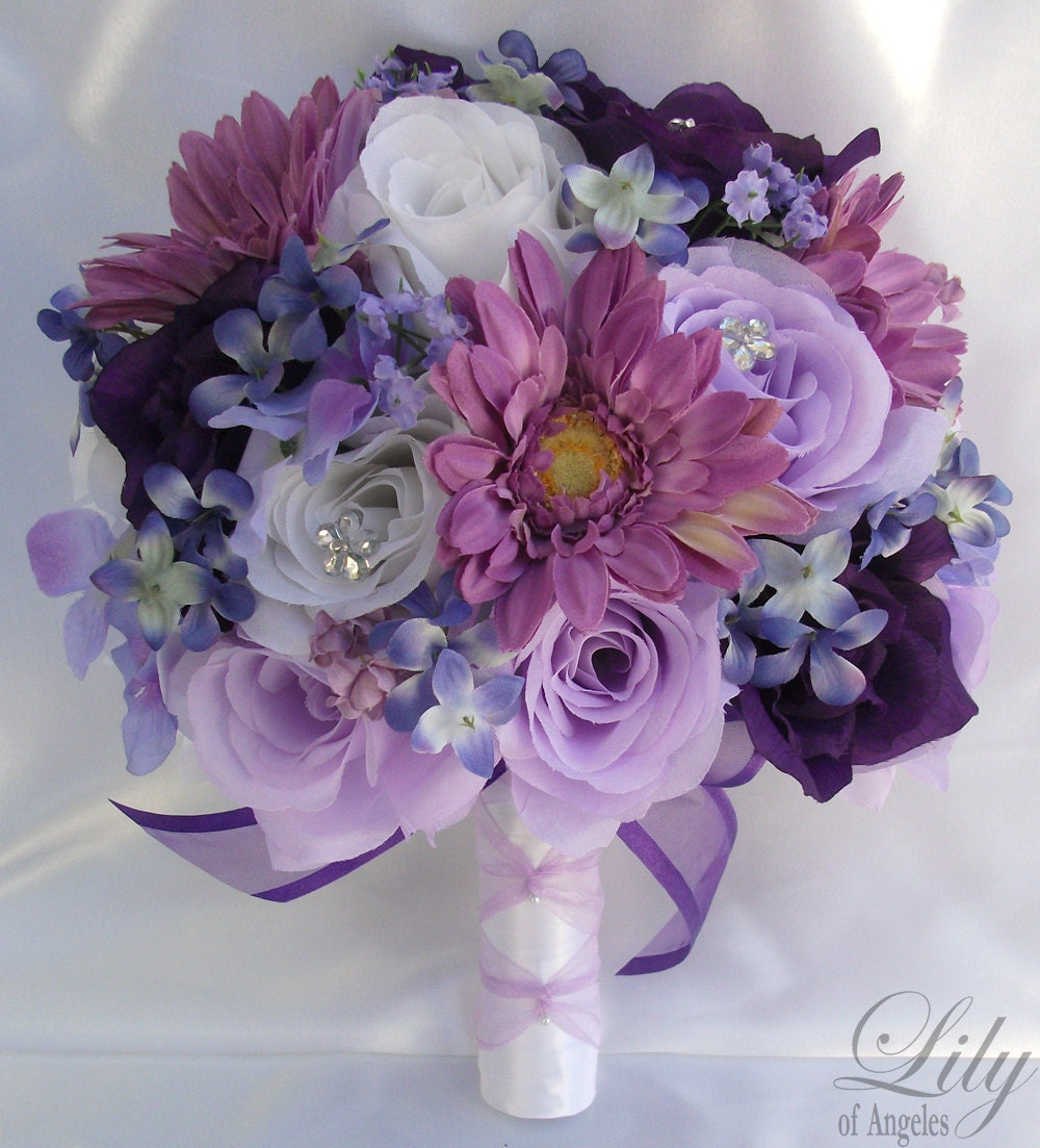 Artificial Purple Wedding Bouquets : Wedding bridal bouquet silk flowers bouquets by lilyofangeles