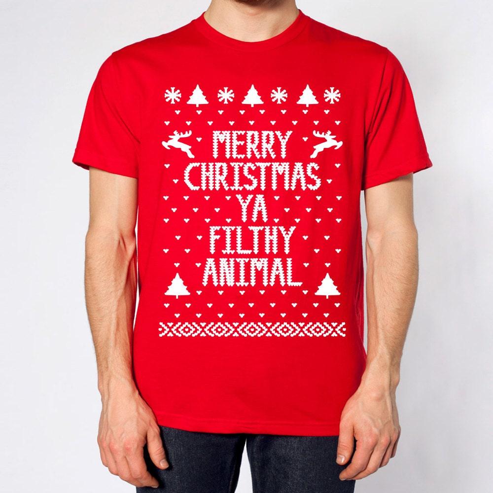 Merry Christmas Ya Filthy Animal Funny Hip Retro By Teestoyou