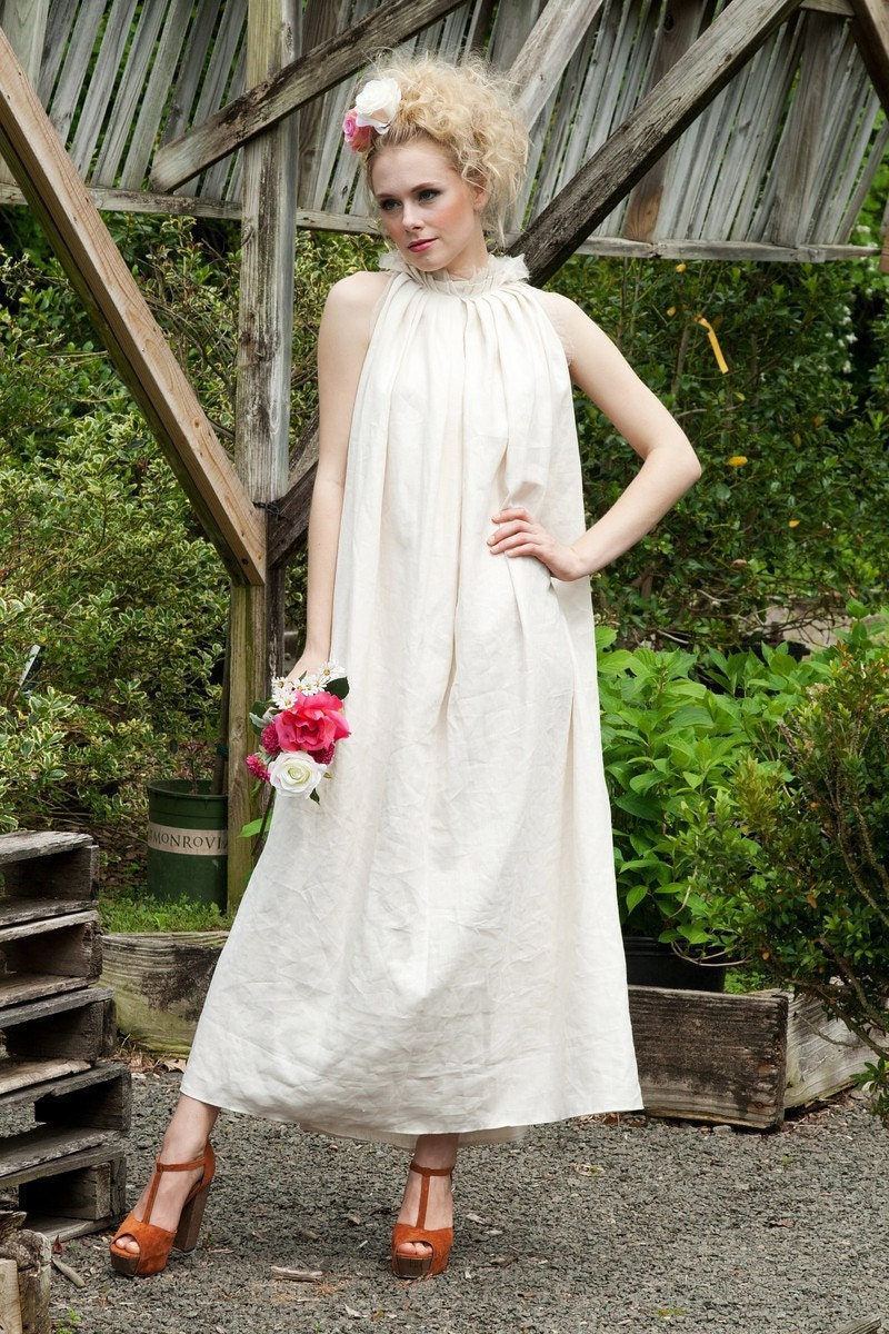 Long pure Linen Dress/ Abstractly gathered at the neck line/ Ivory/ White/ One size fits most/