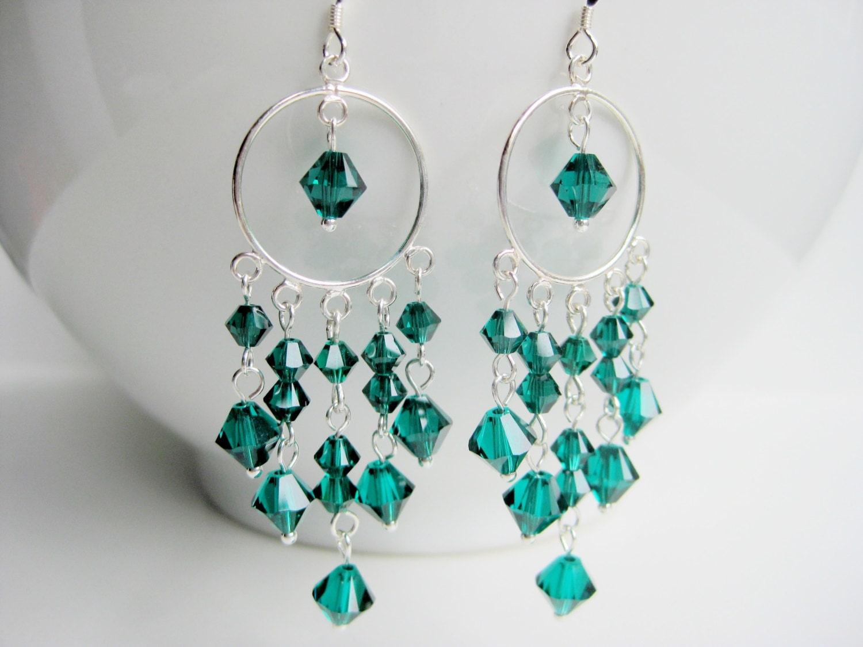 Green chandelier earrings emerald Swarovski crystal chandelier long sterling silver hoop big earrings