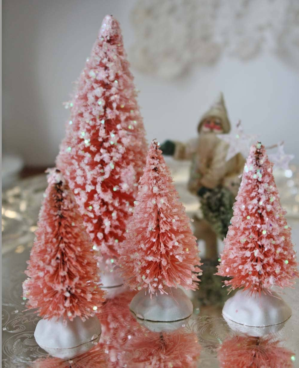 Bottle Brush Tree Set: 4 Pink Glitter Bottle Brush Trees