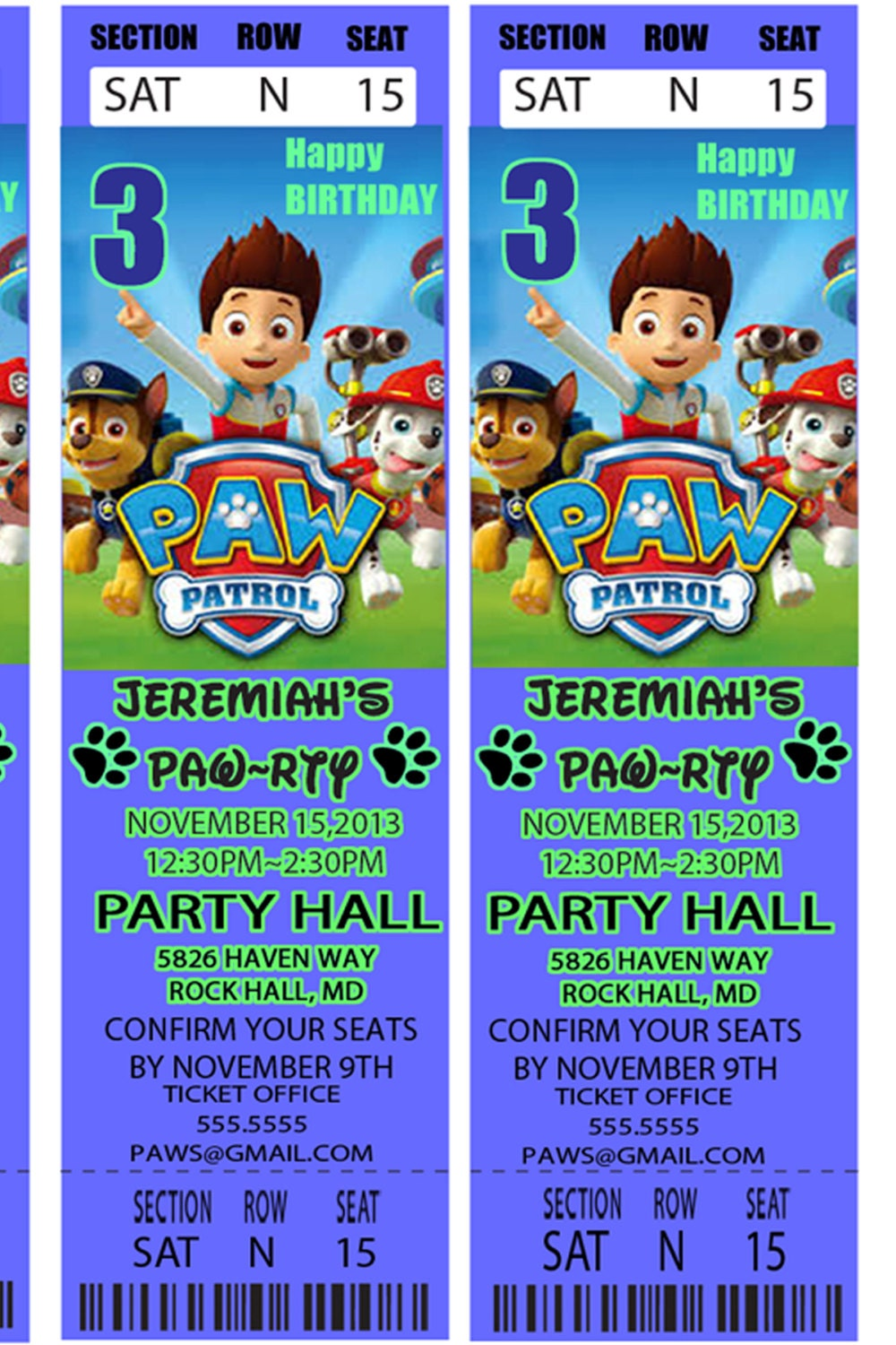 Paw patrol parties party invitations ideas for Paw patrol invitation ideas