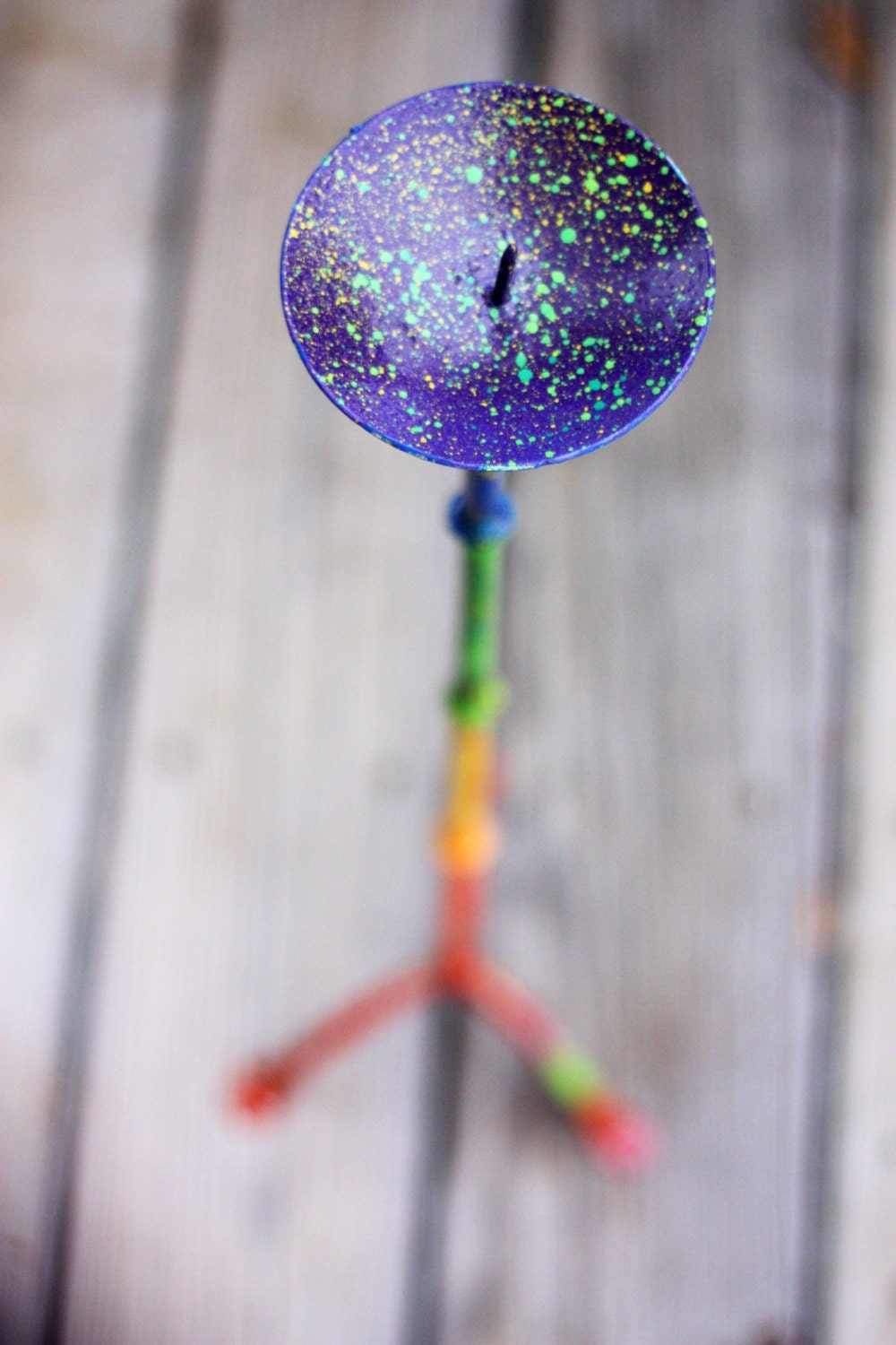 Modern Rainbow Splattered Painted Up-Cycled Tall Candle Holder - GetColorCrazy