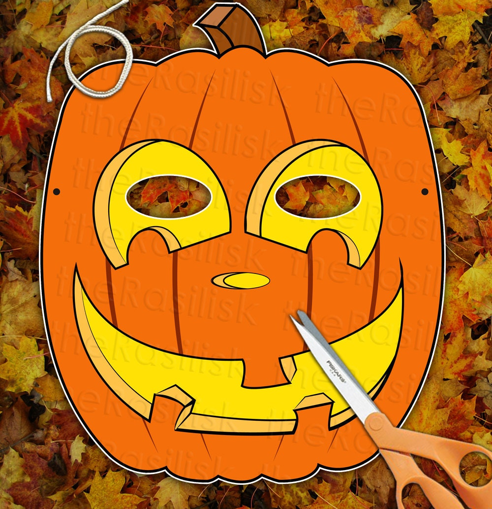 Happy Pumpkin JackoLantern Mask  Printable PDF by theRasilisk from etsy.com