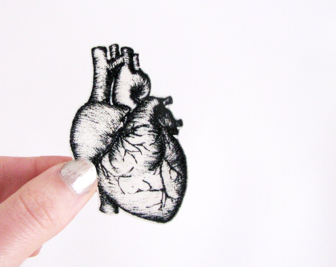 Anatomical heart brooch shrinking plastic jewelry human body bodyparts gift for him homemade black and white - invisiblecrown