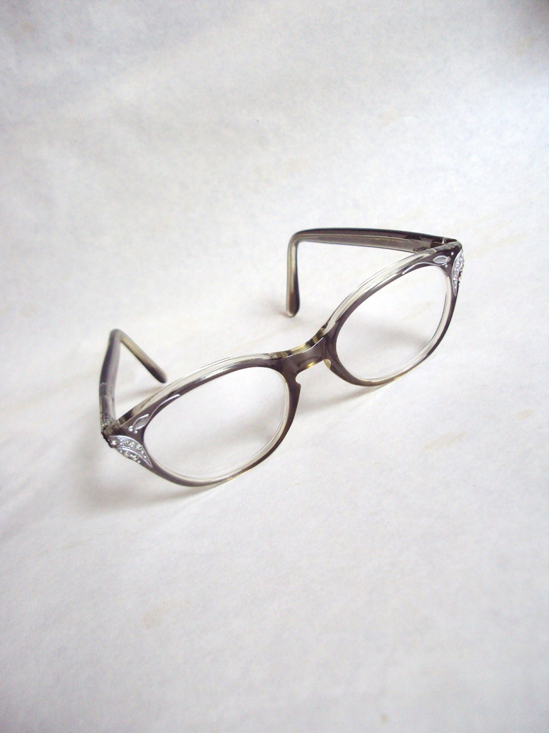 1950s 60s Grey & silver rhinestone spectacles - Veramode