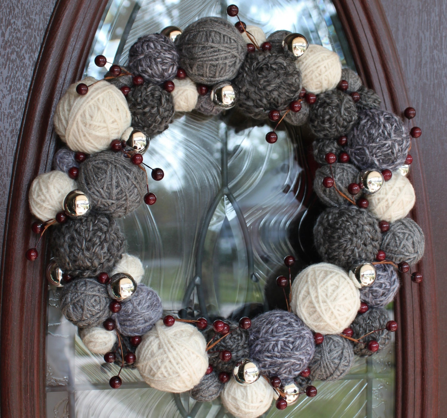 Christmas Yarn Ball Wreath, 14 inches, in grays/neutrals, MADE TO ORDER