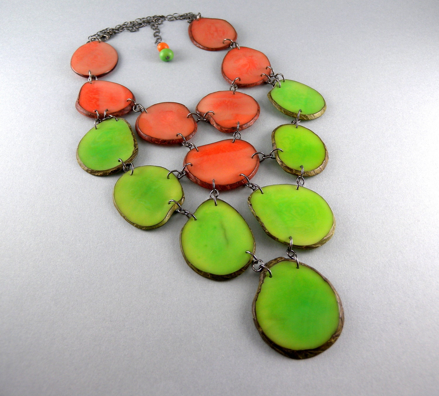Honeydew Green and Cantaloupe Orange Eco Friendly Tagua Necklace Bib with Free Shipping - decoratethediva