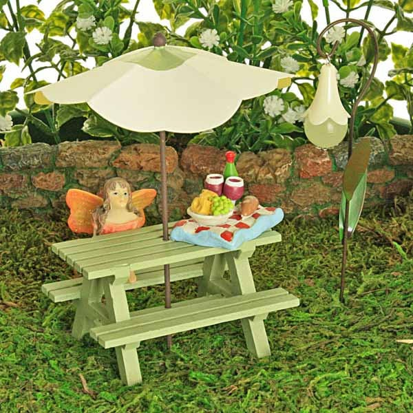 Sage Green Picnic Bench Collection  Sun Umbrella  Glow In The Dark Flower Lantern  Fairy  Tray of Goodies   Fairy Garden Accessory