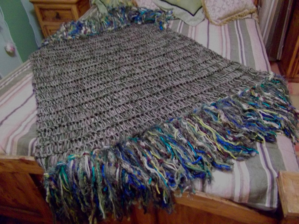 Peacock afghan blue emerald green chartreuse by cricketshome - Emerald green throw blanket ...