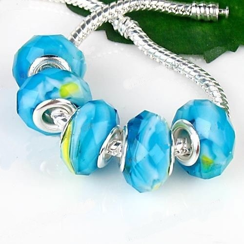 Large Hole Bead, Glass, fits Pandora, Biagi and European Style Bracelets, 1 Bead - jeweledhummingbird
