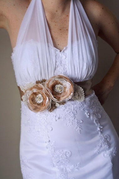 Rustic Bridal Sash Flower Dress Sash Burlap Bridal by ...