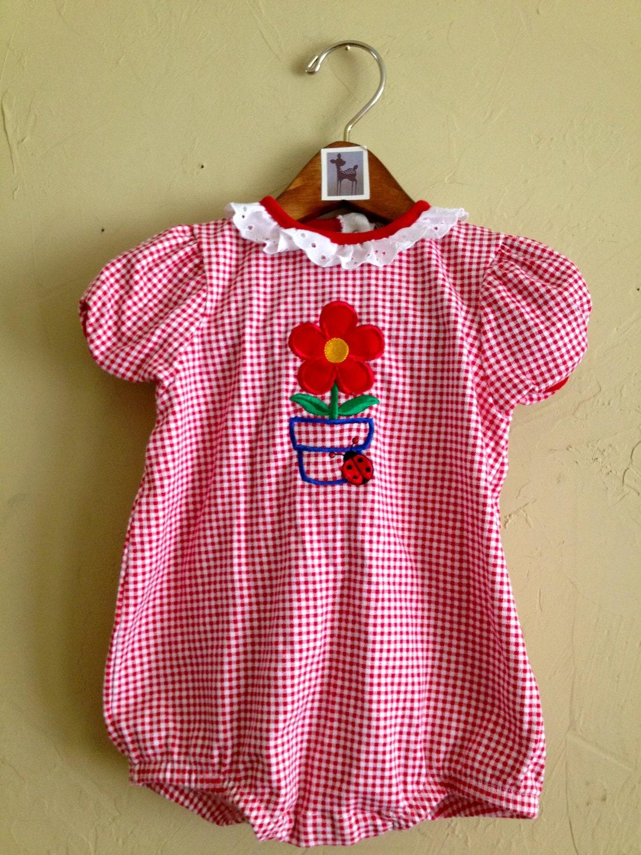 Vintage Red Gingham Cotton Jumper with Flower Applique 18m - FawnVintage01