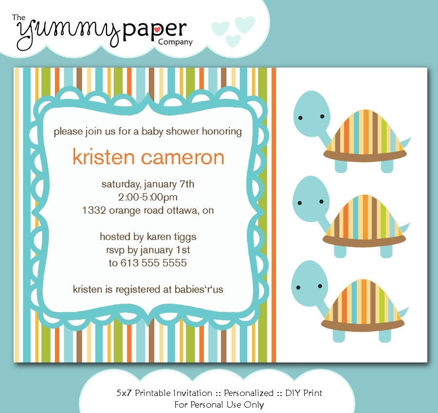 Blue Turtle Baby Shower Invitation ... Custom Printable Digital Invite bt01 - yummypaper