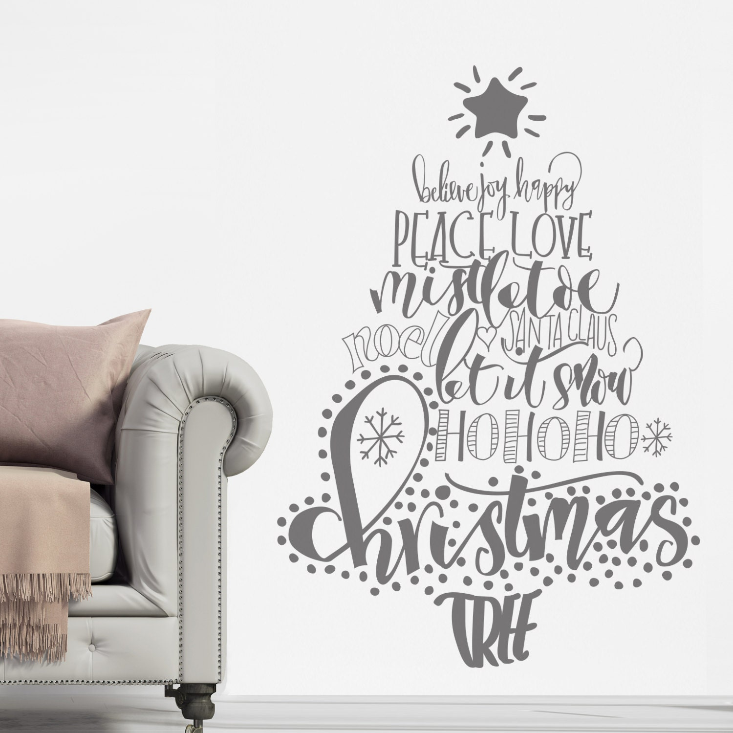 Calligraphy Christmas Tree DecalWall StickersChristmas Christmas Tree Wall StickerCalligraphyFestive DecalHome DecorAlternative Tree