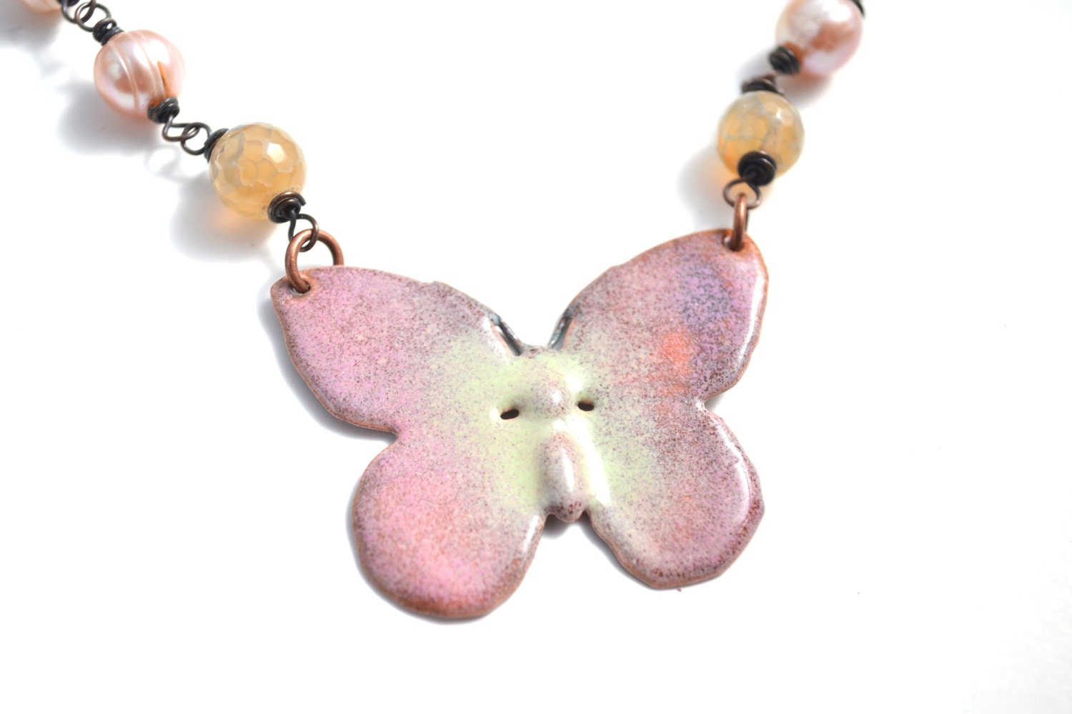 Enamel Butterfly Necklace - pink butterfly, enamel butterfly - ArtIncendi