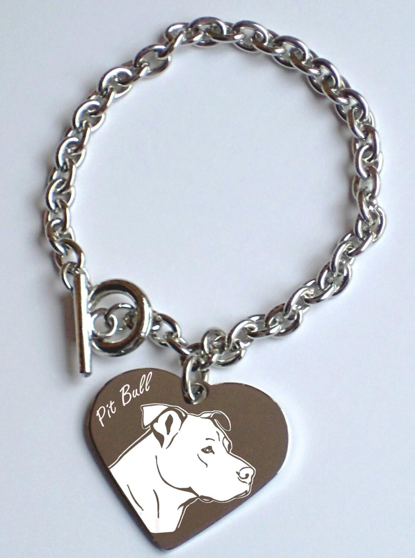 items similar to engraved pit bull pendant bracelet