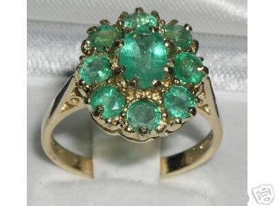 14K Yellow Gold Natural Emerald Engagement Ring English Antique Style Cluster Flower Ring Alternative Engagement Ring  Customizable