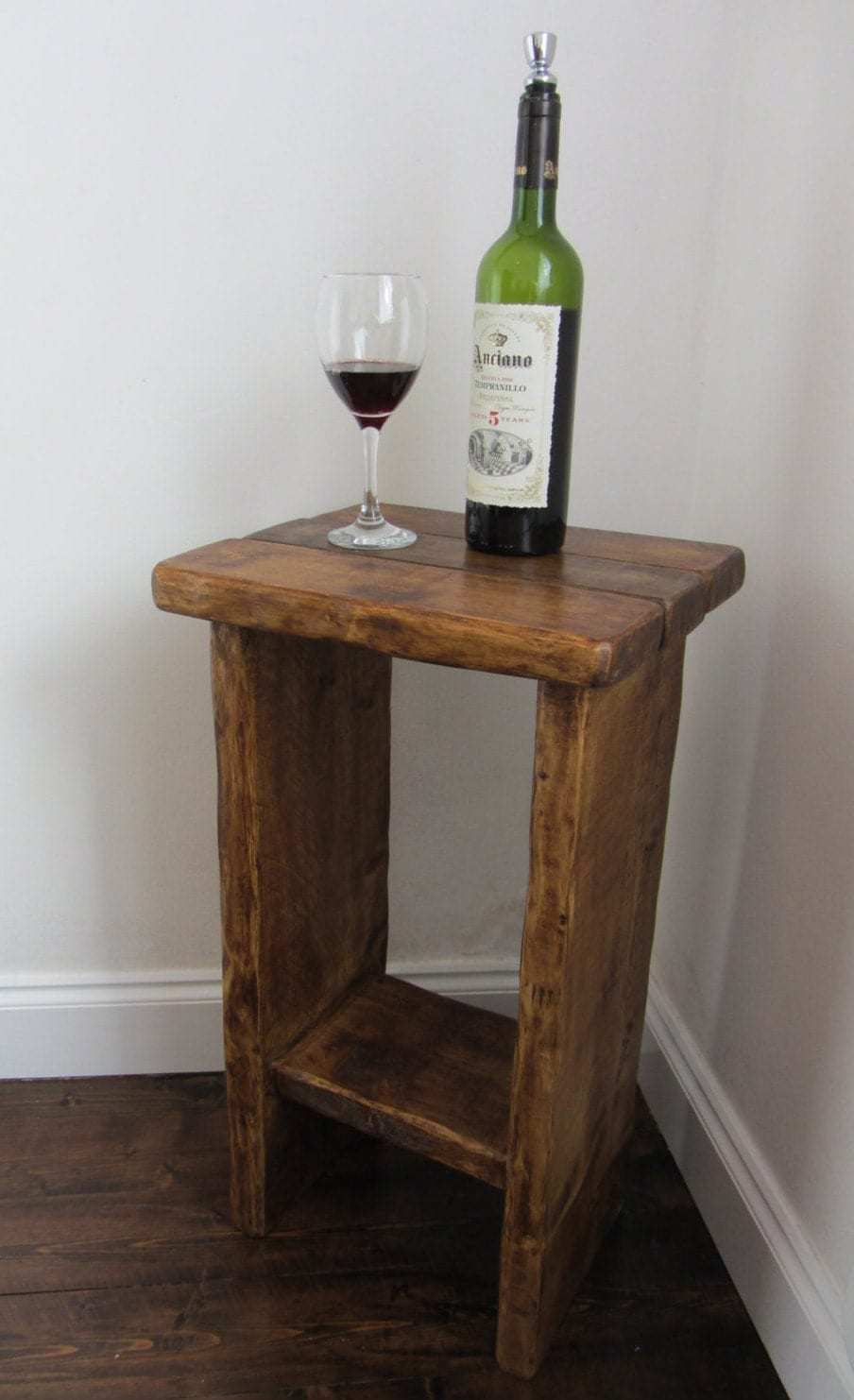 Rustic reclaimed solid plank wood side table  end table  lamp table  shabby chic table with shelf