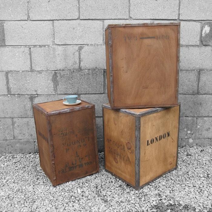 Vintage Tea Chest Trunk Box Crate  Storage Side Table Display Shop DAMAGED