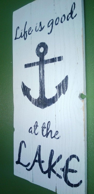 Items similar to life is good at the lake nautical theme for Lake themed decor