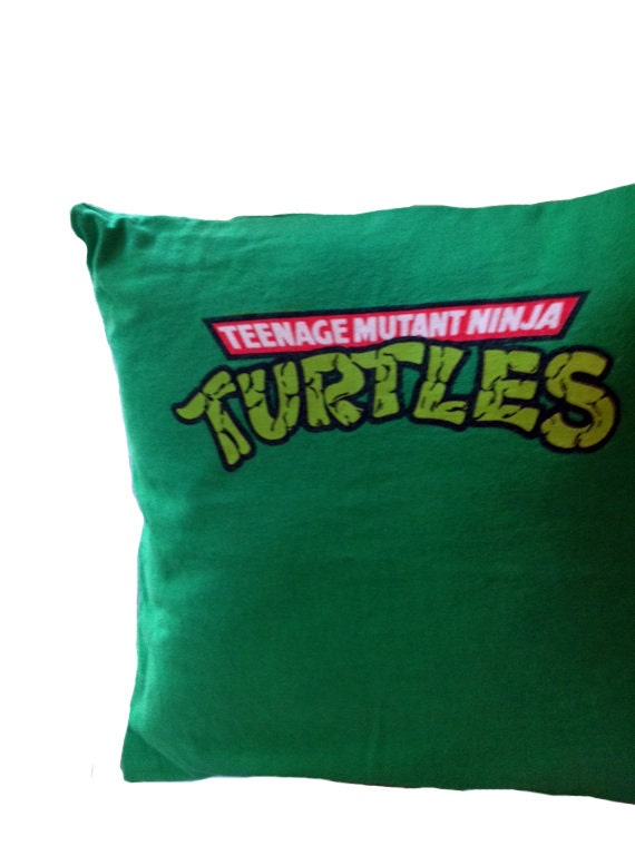 Teenage Mutant Ninja Turtles decorative pillow cover - Green Upcycled ...