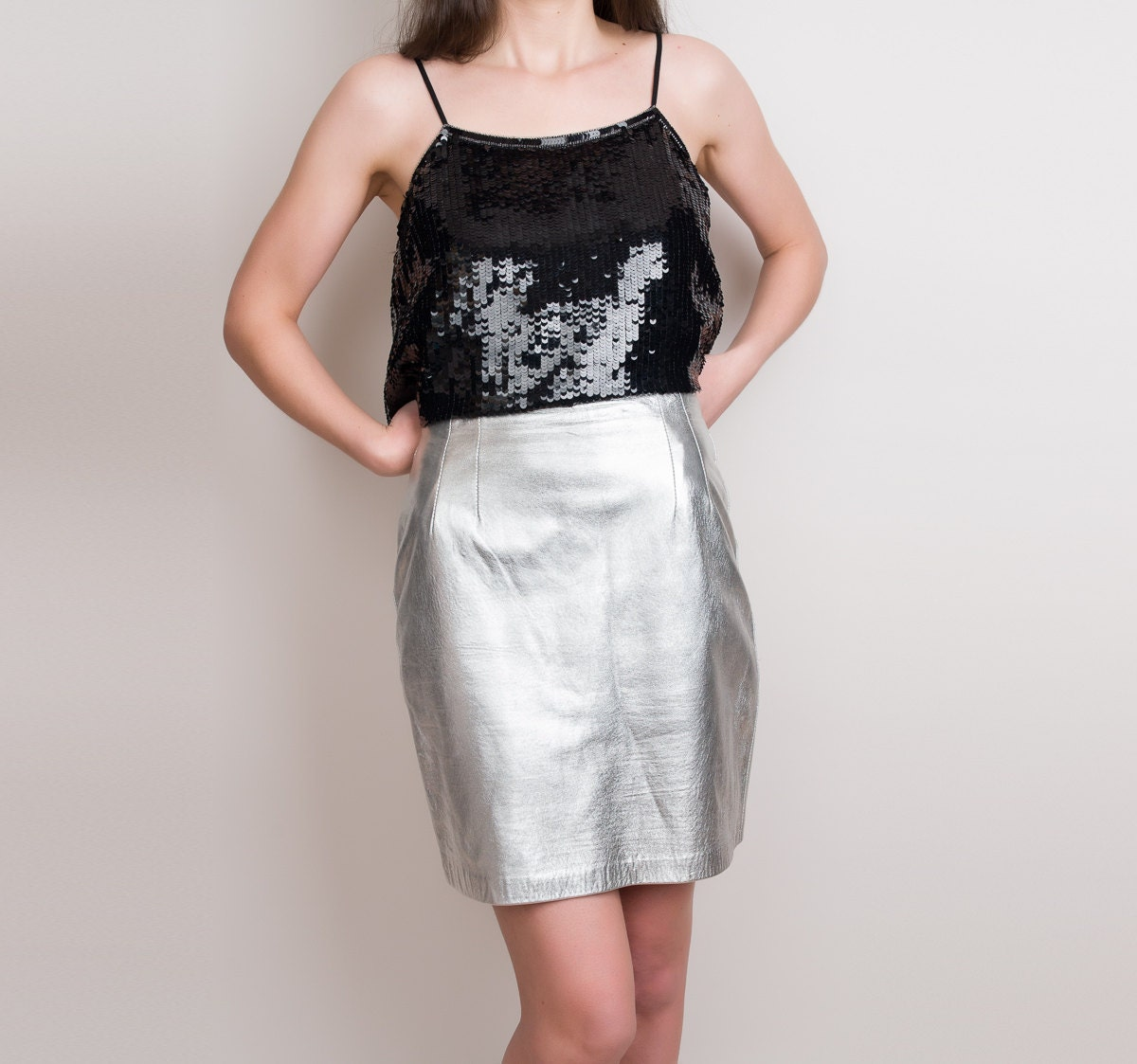metallic silver leather skirt vintage leather skirt by