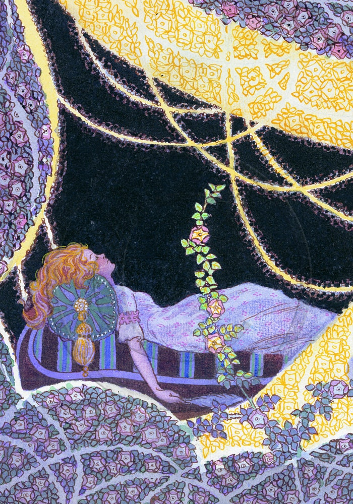 Grimm Brothers, Art Deco Sleeping Beauty A4 Print - NattyMatty