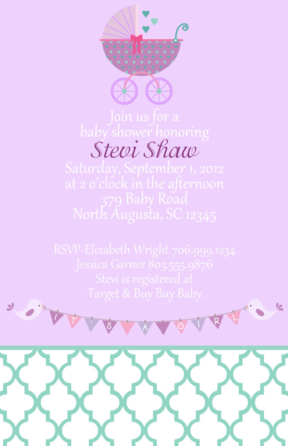to purple and teal baby shower invitation set of 20 invites on etsy