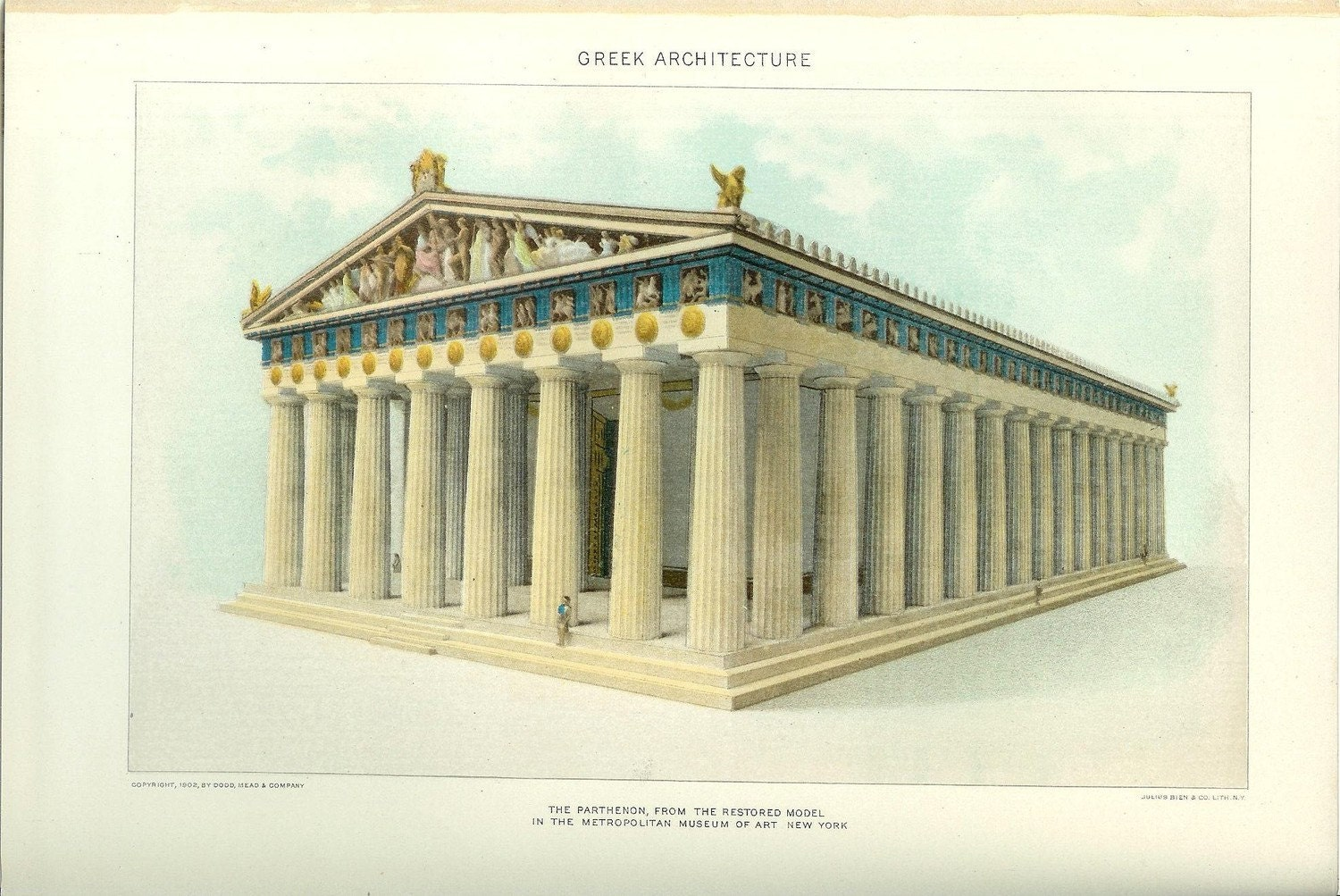 1903 greek architecture print vintage antique art by holcroft for Architecture antique