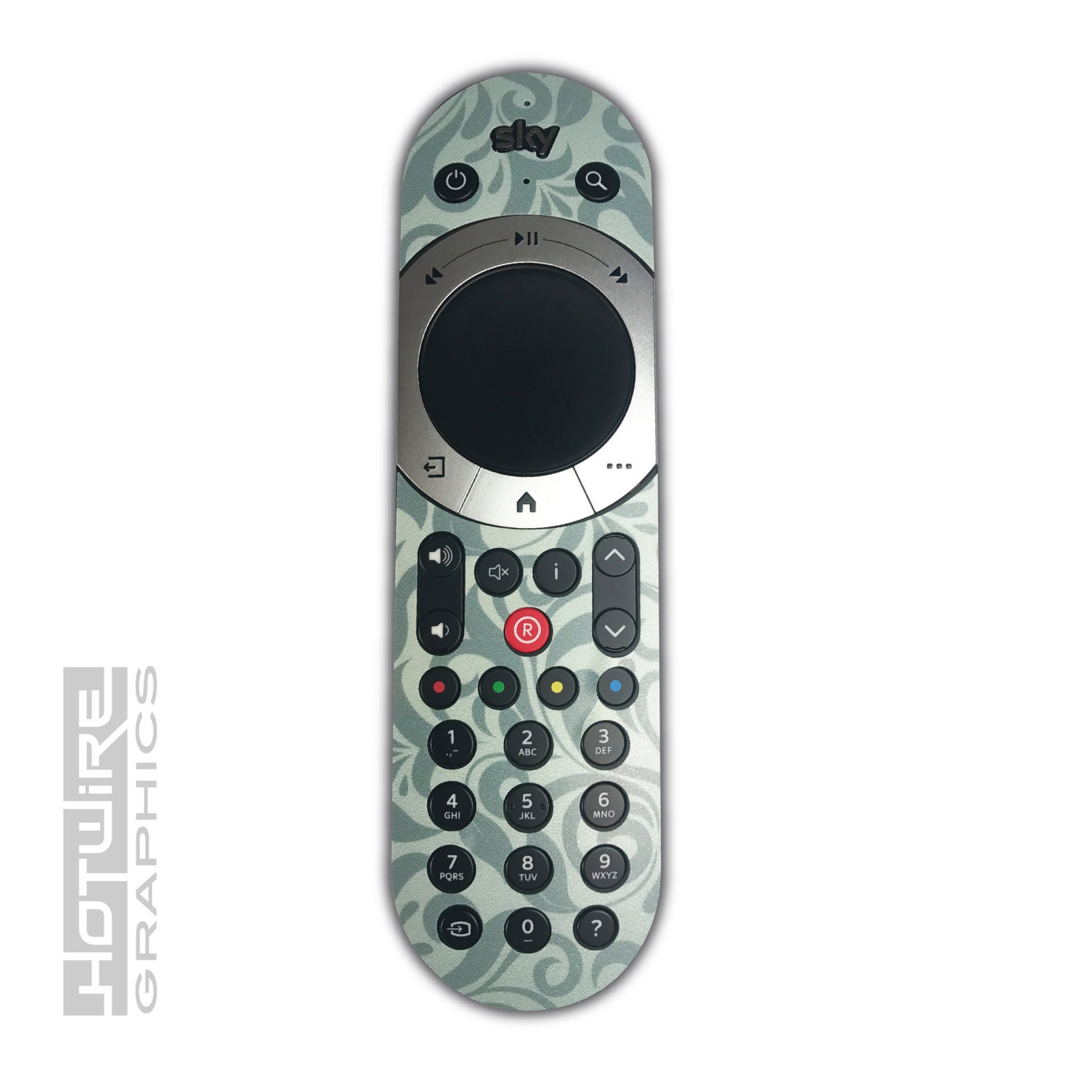 Green Demask Swirls Sky Q TOUCH Remote Control Vinyl Sticker Skin Kit SKYQ