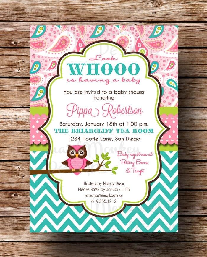 owl baby shower invitation baby girl pink aqua teal paisley