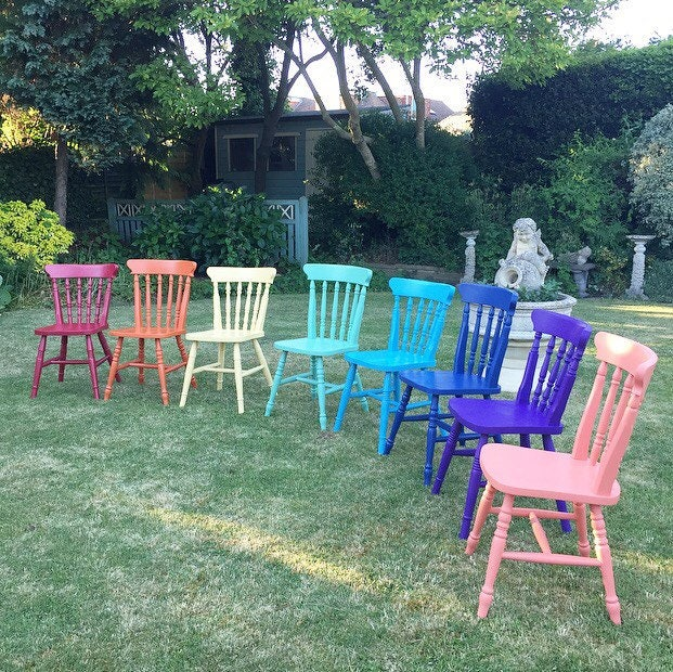 Painted Chairs Mismatched Chairs Rainbow Chairs Dining Chairs Vintage Painted Chairs Painted Furniture.