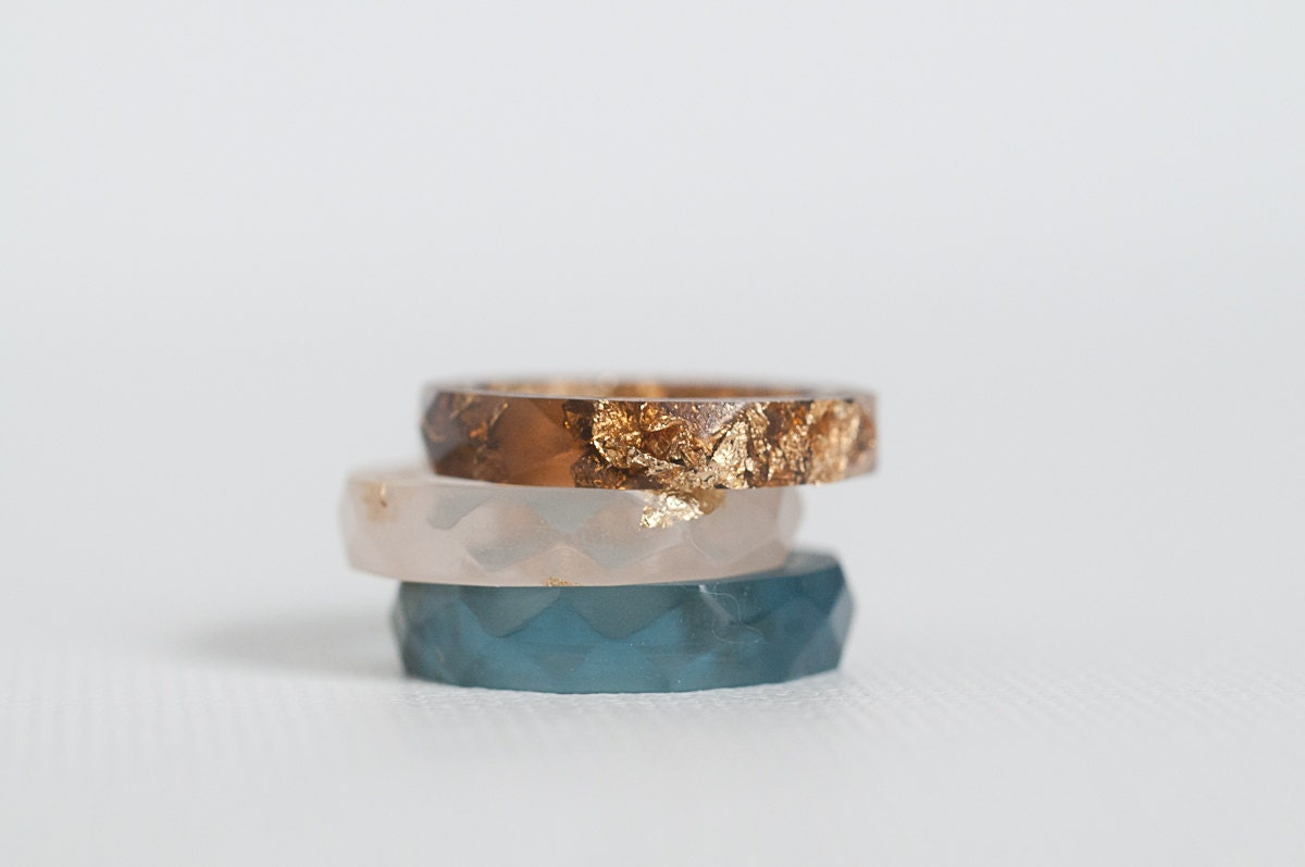 blue and gold size 3 thin multifaceted eco resin ring - RosellaResin