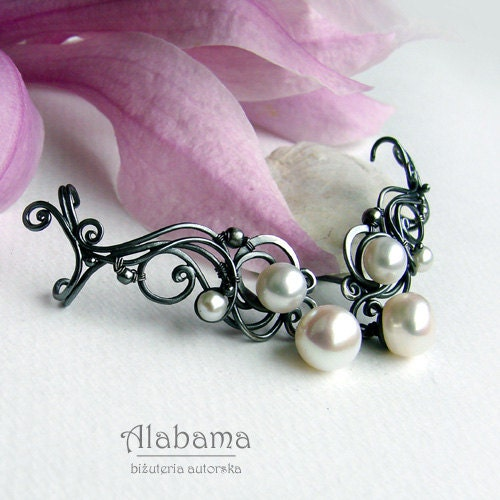 Pearl ear cuffs - beautiful, OOAK, silver, wire-wrapped wedding earrings with freshwater pearls or gemstones that you choose - AlabamaStudio