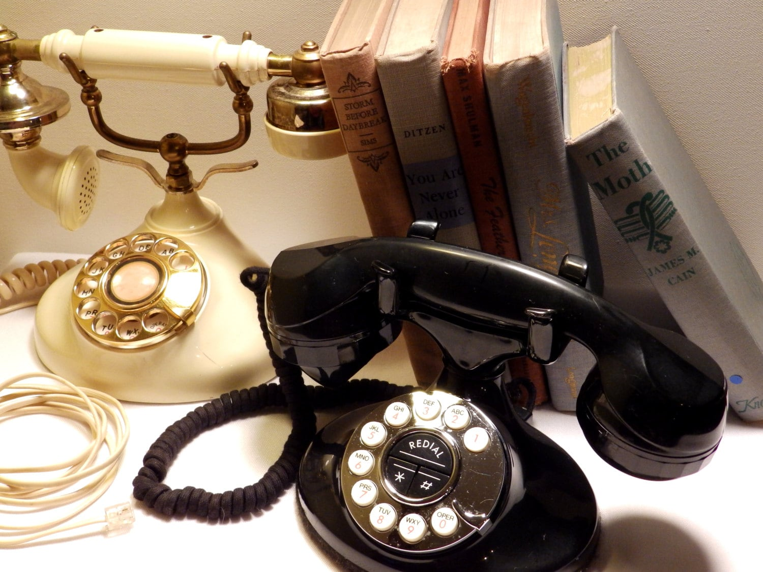 Instant Set of Vintage Phones Shabby Boho Collectible Home Office or Dorm Decor - bauble2bijou