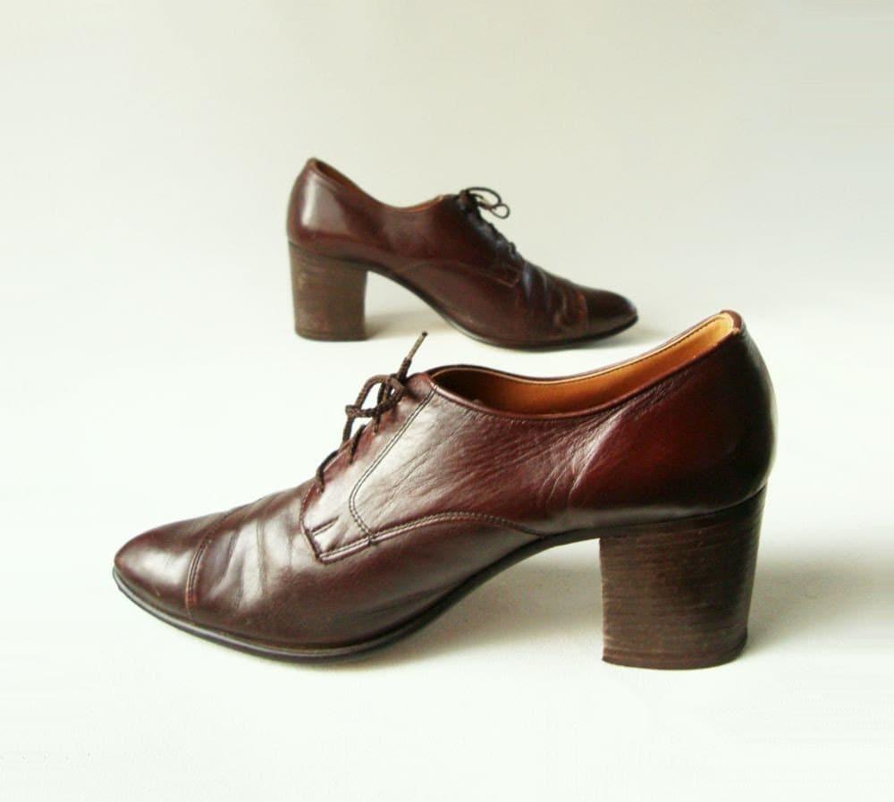 1970s Vintage High Heel Mens / Womens Oxford Shoe Sz 9.5 / 11