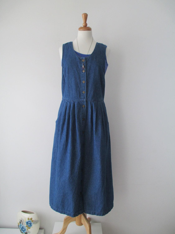 Vtg 80s/90s Blue Jeans Denim Jumper Dress by LucyBlueVintage
