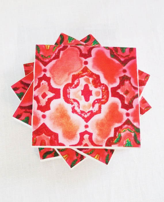 ... and Coral Colored Ceramic Tile Drink Coasters, Set of 4, Custom Colors