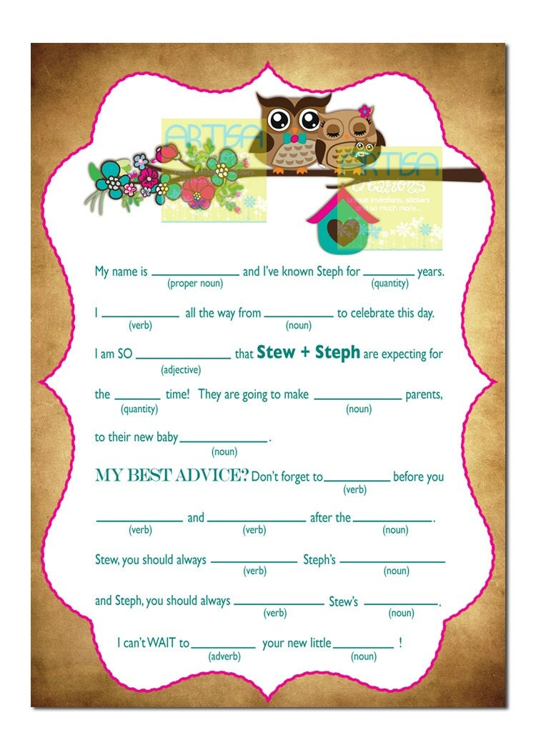 owls baby shower mad lib spring owls and by artisacreations