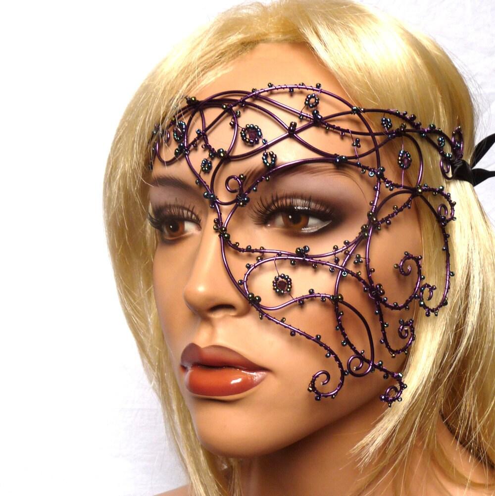 Purple vine half mask, handmade, womens, costume, accessories, masquerade