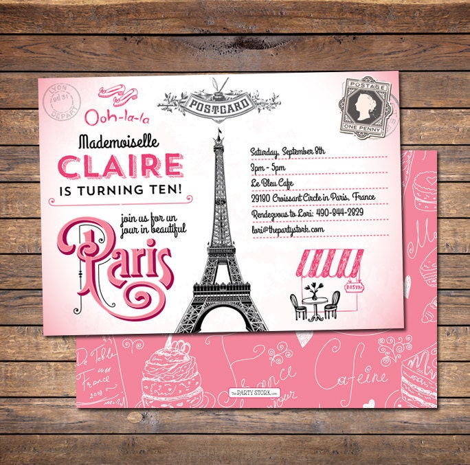 Paris Themed Birthday Invitations and get inspiration to create nice invitation ideas