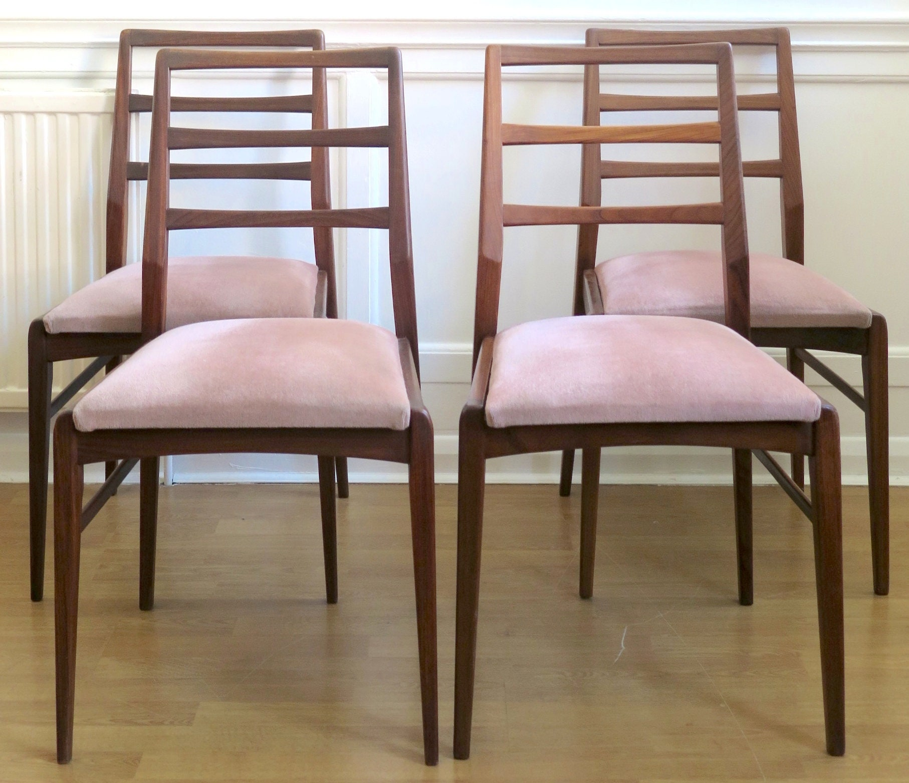 Stunning Set Of 4 Vintage Richard Hornby For Heals Fyne Ladye Afromosia Chairs. Delivery. Danish / Modern / Mid Century Style.