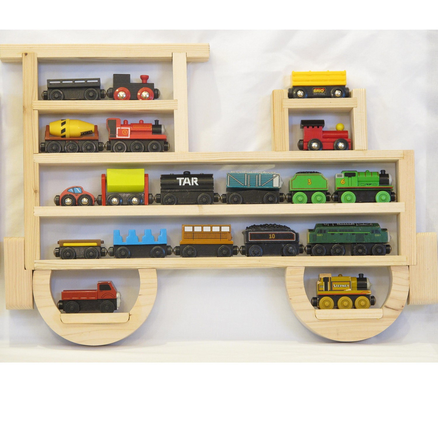 Wooden Wall Storage Train Engine Rack Organizer by WhatAboutWood