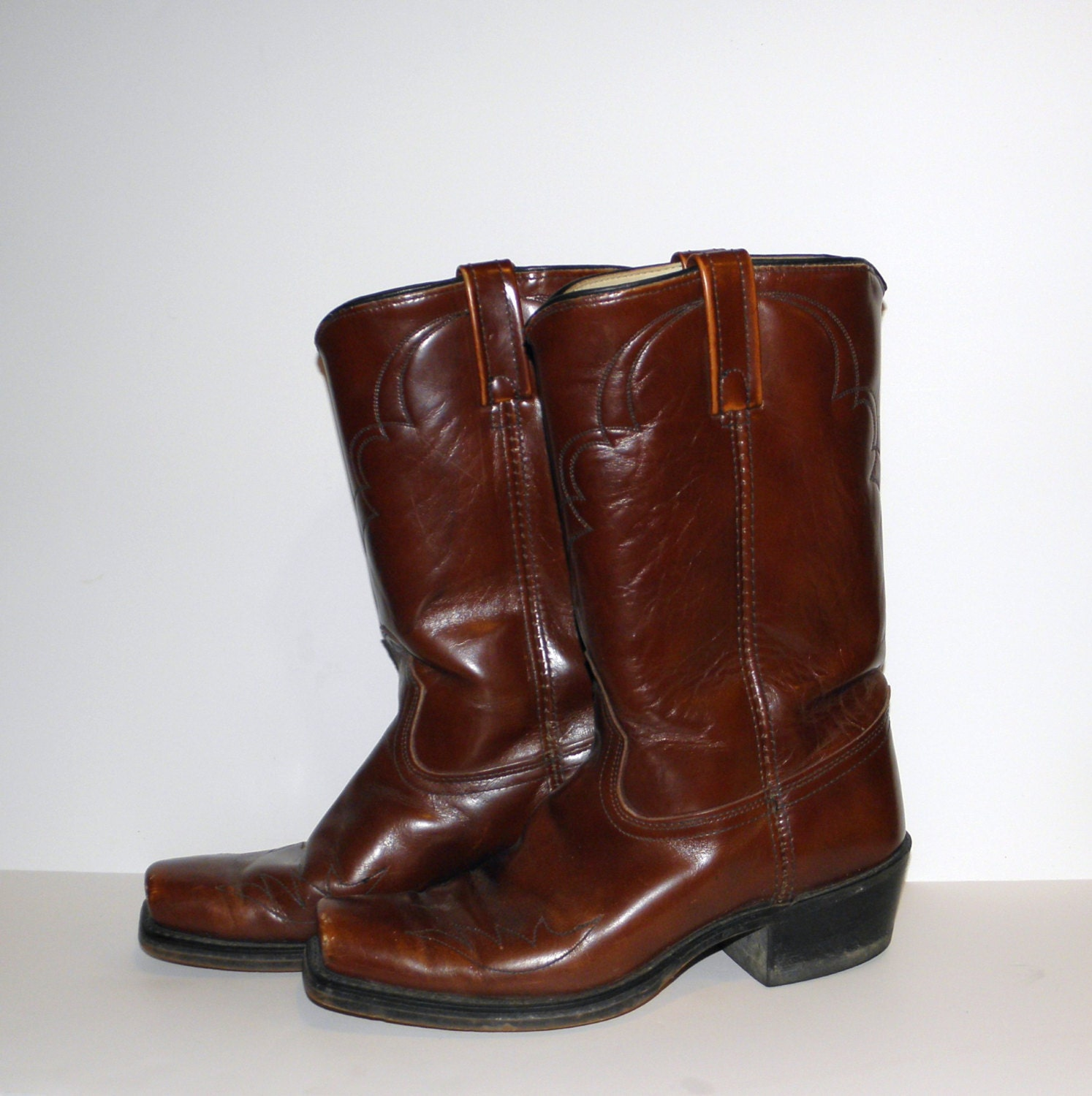 vintage cowboy boots dingo boots mahogany brown by