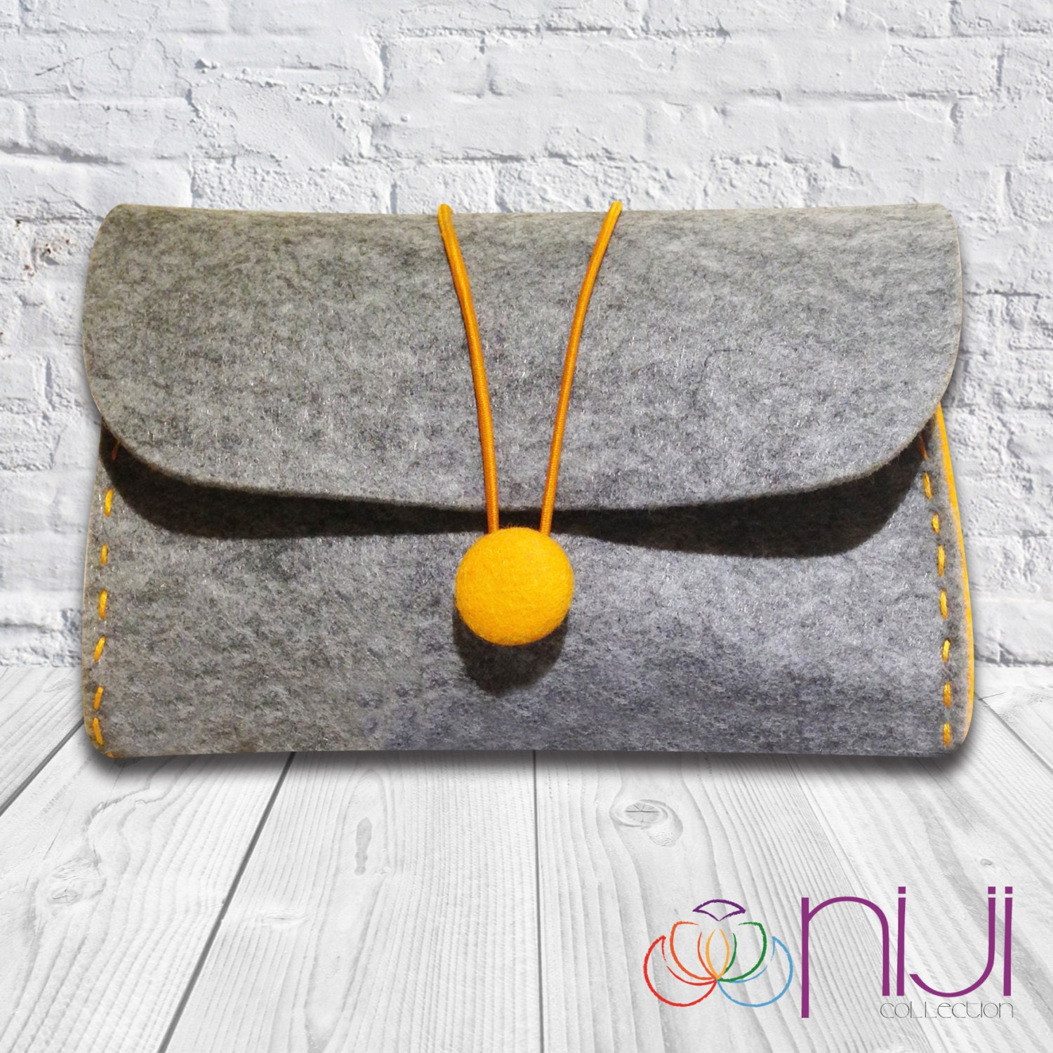 Felt Bag, Cosmetic Bag, Handmade Felt Case Pouch, iPhone Bag, Telephone and Power Adapter Bag, Tobacco Bag Grey and Orange Bag - NIJICOLLECTION