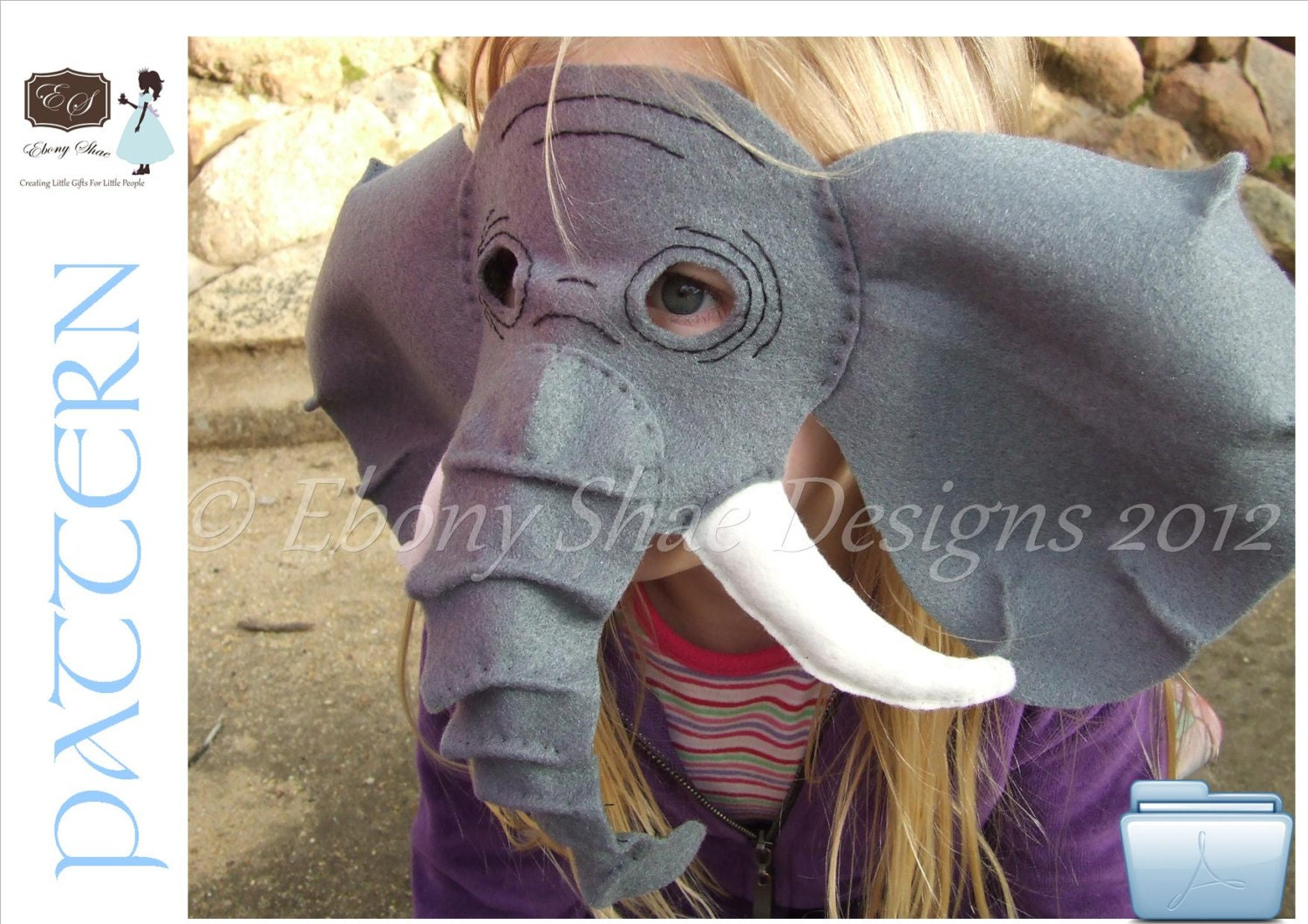 Elephant Mask PDF PATTERN.  One size fits most.  Instant Download. - EbonyShae