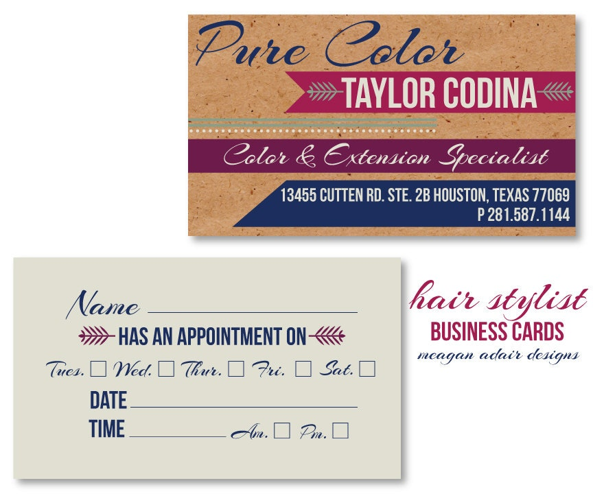 Items similar to Hair Stylist Business Cards Appointment