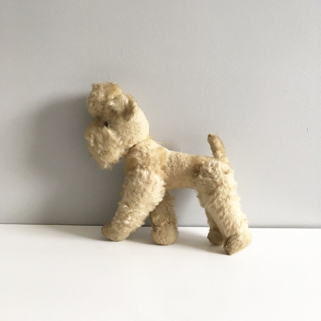 Antique Poodle soft toy, possibly Steiff straw filled lenticular teddy.